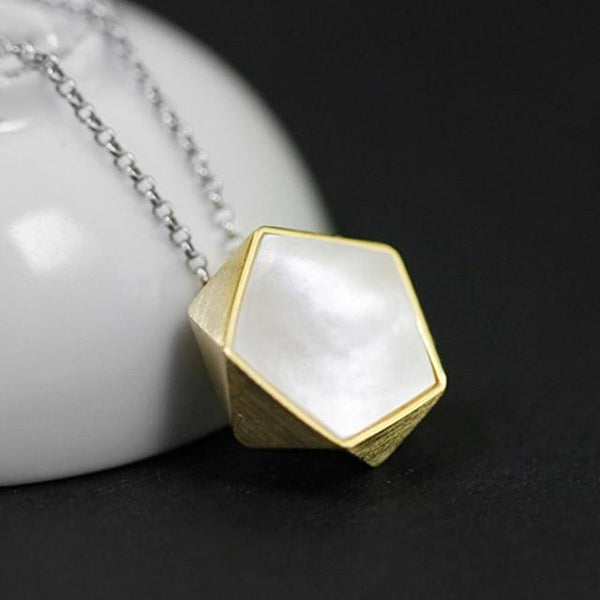 Fancy Geometric Angles Sea Shell S925 Silver Necklace Pendant L02