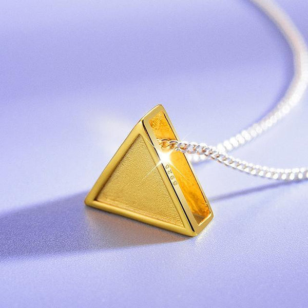 Simple Geometric Triangle 925 Sterling Silver Necklace Pendant L02