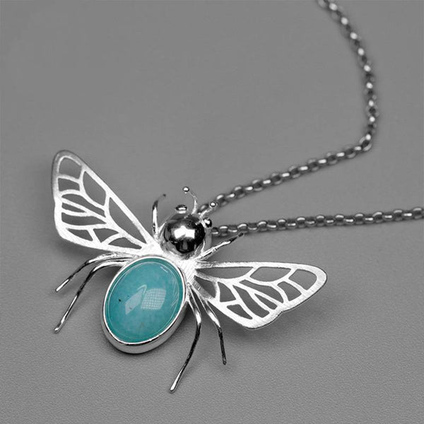Hollow Out Honeybee Blue Amazonite S925 Silver Necklace Pendant L02