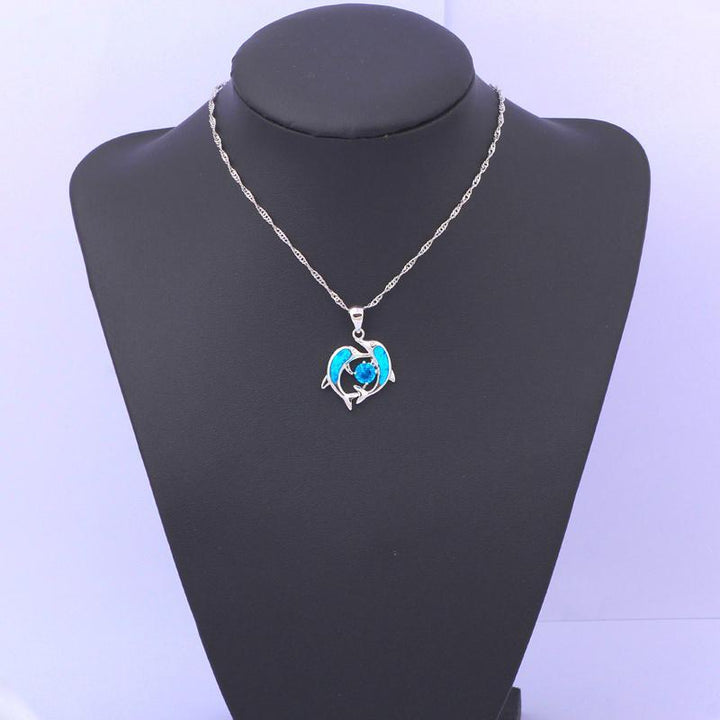 CNS Deals Women Pendant Lovely Dolphin Couple In Love Silver Plated Necklace Pendant R01