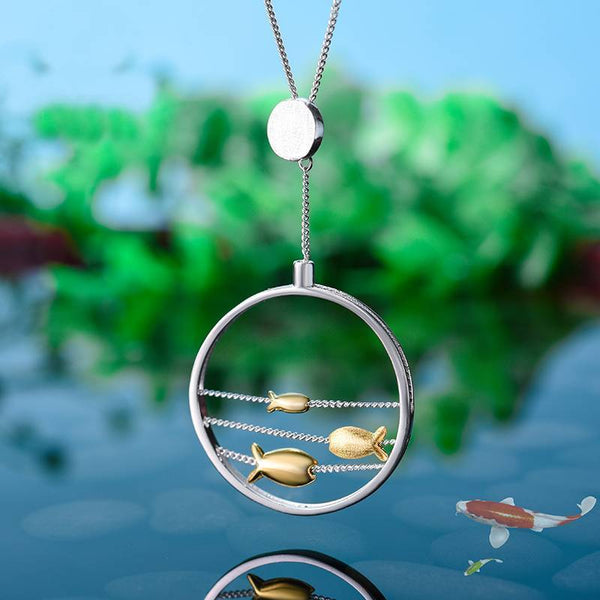 Moving Happy Fishes 925 Sterling Silver Necklace Pendant L02