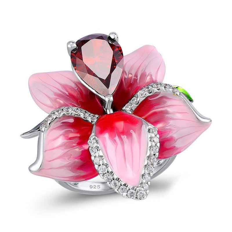 Pink And White Hibiscus Flower 925 Sterling Silver Fashion Ring S01