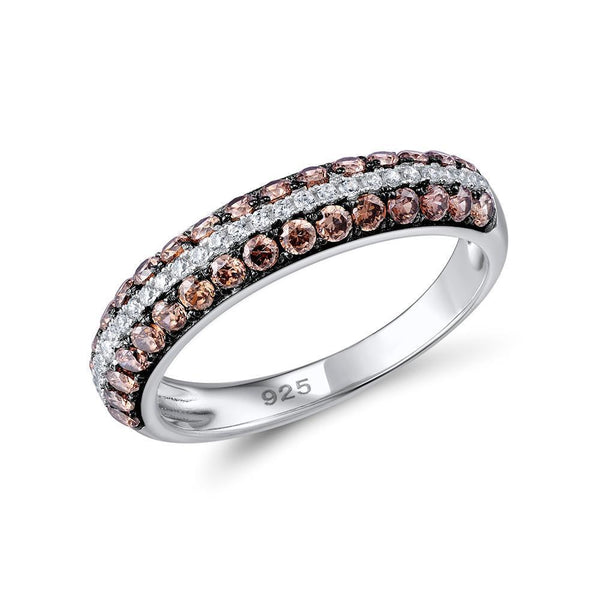 Light Chocolate CZ Trail Genuine 925 Sterling Silver Fashion Ring S01