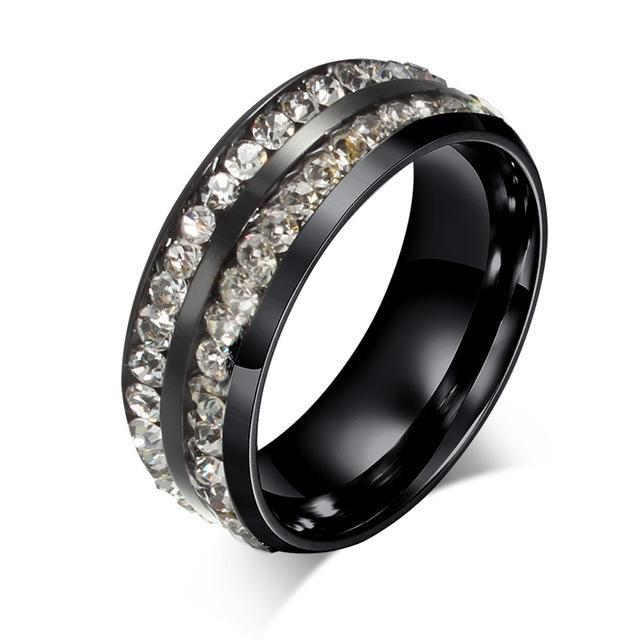 CNS Deals Women Ring 6 / Black Color Doubled Row Crystal Ring Band for Women