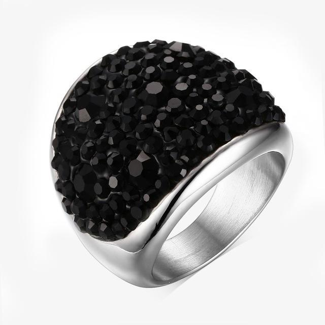 CNS Deals Women Ring 6 / Black Shiny Rhinestones Stainless Steel Ring for Women