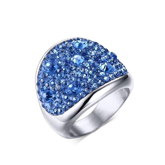 CNS Deals Women Ring 6 / Blue Shiny Rhinestones Stainless Steel Ring for Women
