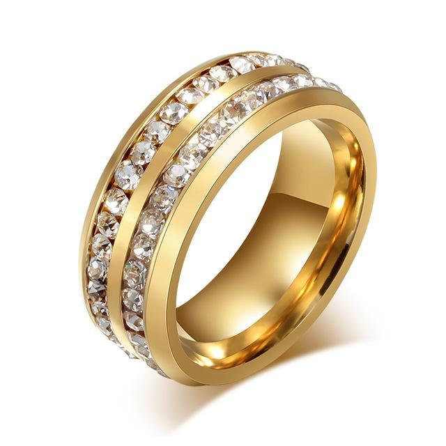 CNS Deals Women Ring 6 / Gold color Doubled Row Crystal Ring Band for Women