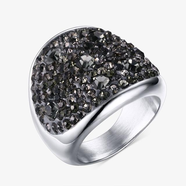 CNS Deals Women Ring 6 / Gray Shiny Rhinestones Stainless Steel Ring for Women