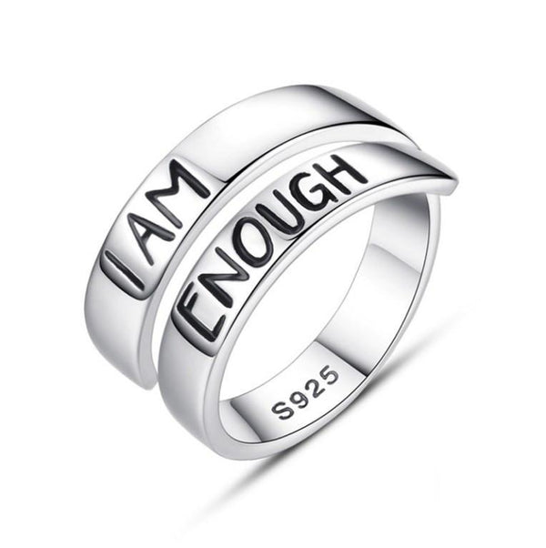 I AM ENOUGH Lettering Pure 925 Sterling Silver Fashion Ring K01