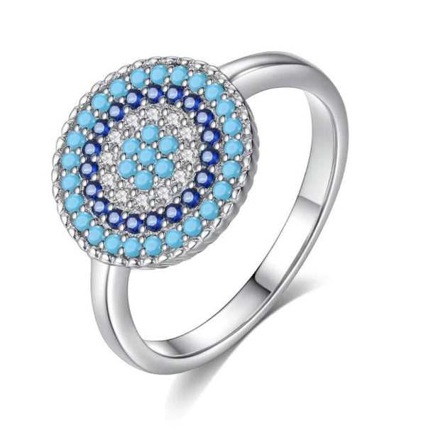 Luxury Sky Blue Full Moon Pure 925 Sterling Silver Fashion Ring K01