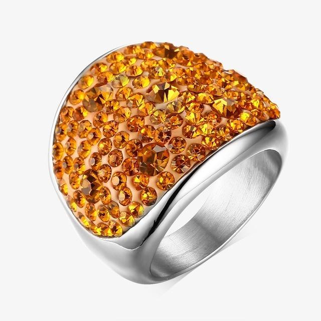 CNS Deals Women Ring 6 / Orange Shiny Rhinestones Stainless Steel Ring for Women