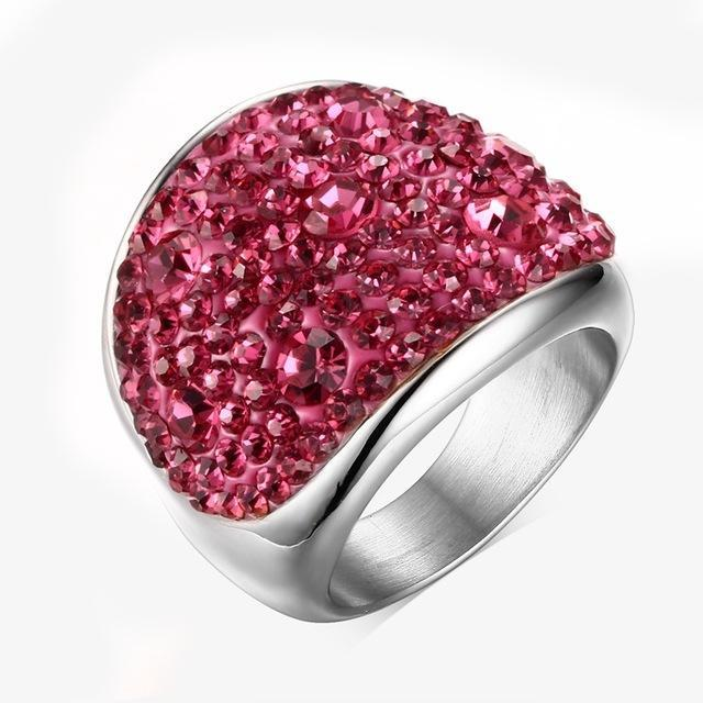 CNS Deals Women Ring 6 / Pink Shiny Rhinestones Stainless Steel Ring for Women
