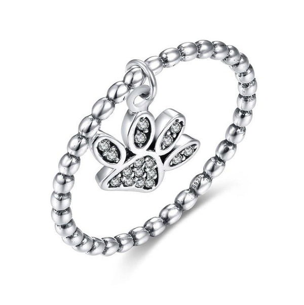 Shiny Puppy Paw Print Authentic 925 Sterling Silver Trendy Ring K01
