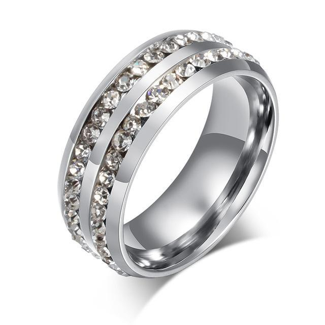 CNS Deals Women Ring 6 / Silver Color Doubled Row Crystal Ring Band for Women