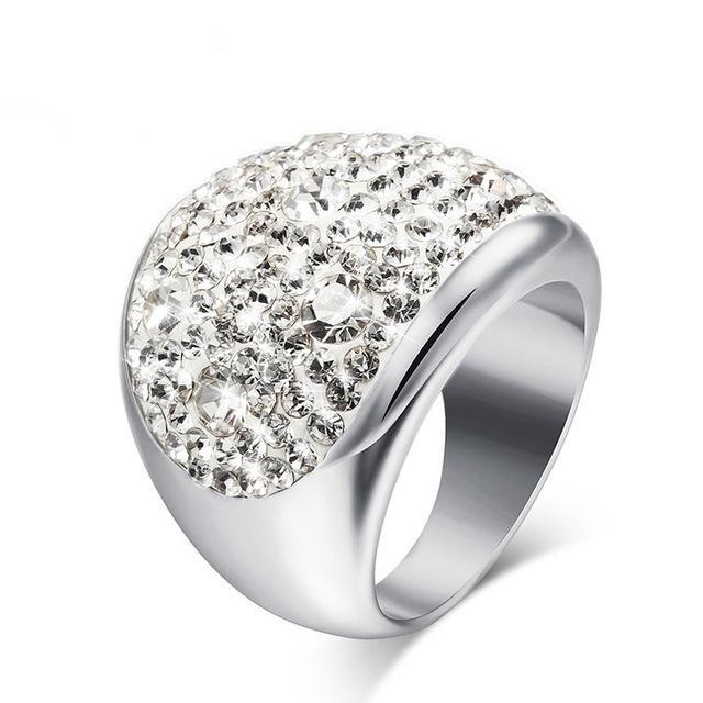 CNS Deals Women Ring 6 / White Shiny Rhinestones Stainless Steel Ring for Women