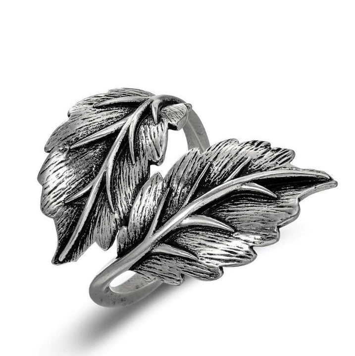 CNS Deals Women Ring 7 Fancy Twin Leaf Vintage Silver Plated Women Fashion Ring V02