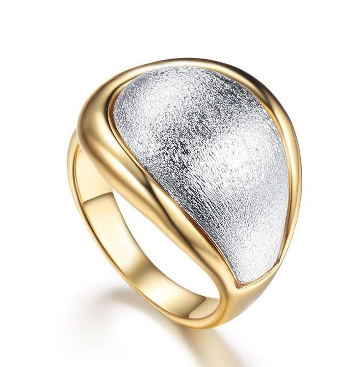 CNS Deals Women Ring 7 Fantasy Cocktail Silver Pave Silver & Gold Plated Fashion Ring V02