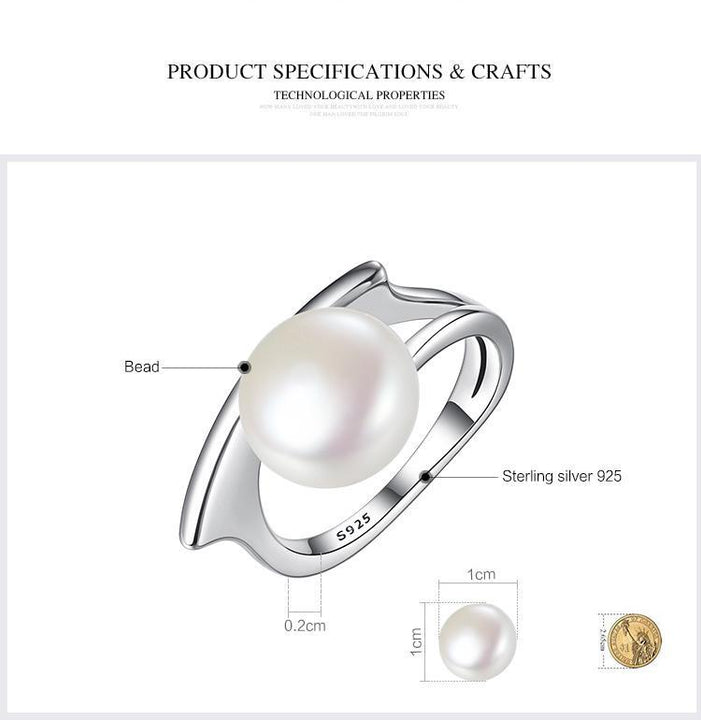 CNS Deals Women Ring 925 Sterling Silver Fresh Water Cultured Pearl Ring