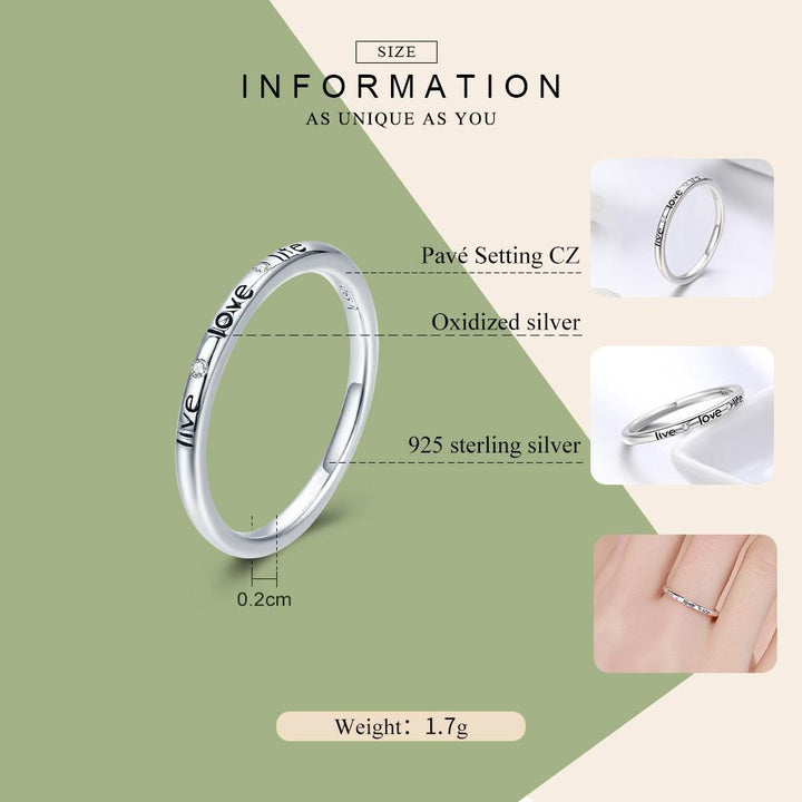 CNS Deals Women Ring Authentic 925 Sterling Silver Live Love Life Letter Engraved Finger Ring