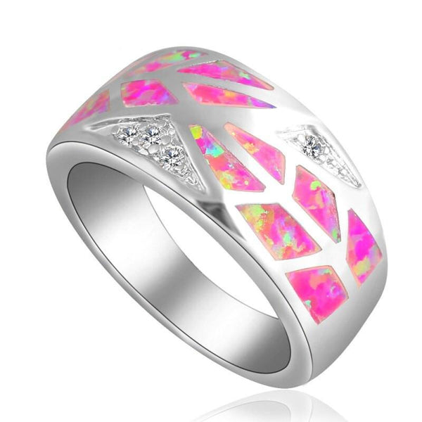 Bright Pink Fire Opal Geometric Leaf Silver Plated Fashion Ring R01