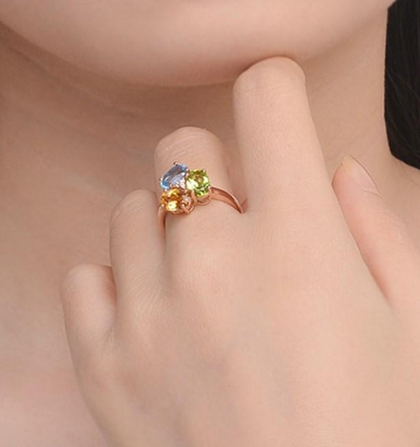 CNS Deals Women Ring Citrine Peridot Topaz Rose Gold Plated Ring