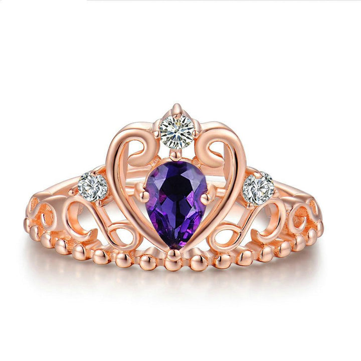 CNS Deals Women Ring Crown Natural Teardrop Amethyst Wedding Ring
