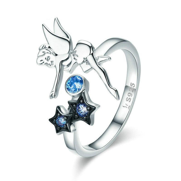 Fairy Night Stars & Tinkerbell 925 Sterling Silver Ring B01