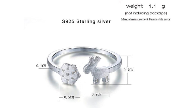 CNS Deals Women Ring Fawn & Snowflake 925 Sterling Silver Adjustable Ring