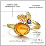 CNS Deals Women Ring Flower 7mm Natural Citrine 14K Yellow Gold Wedding Ring