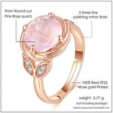 CNS Deals Women Ring Flower Natural Round Pink Rose Quartz Romantic Wedding Ring