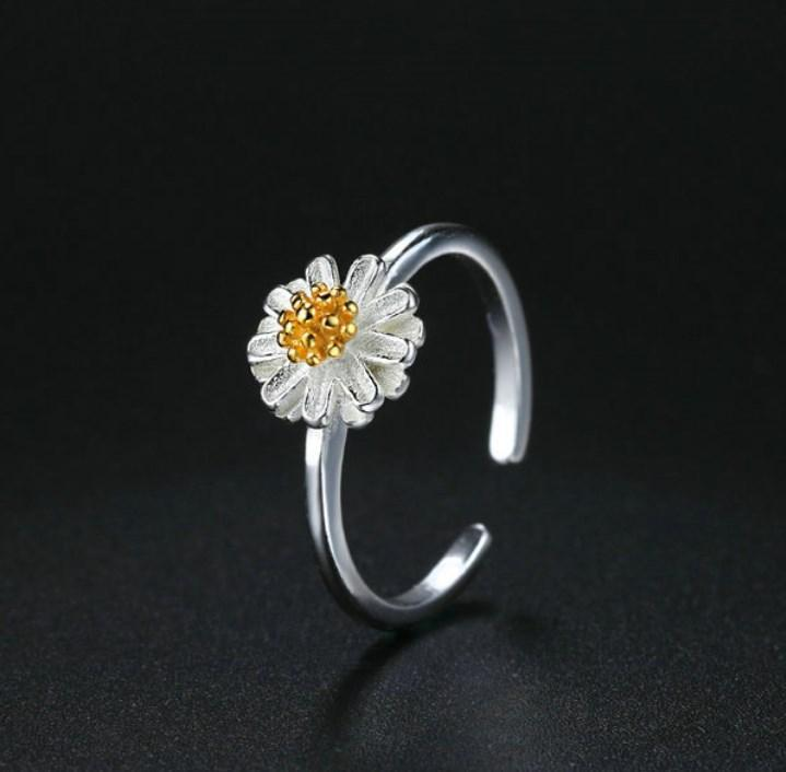 CNS Deals Women Ring Handmade Chrysanthemum Flower 925 Sterling Silver Adjustable Ring