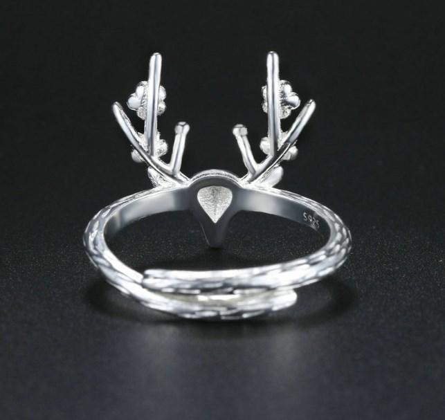 CNS Deals Women Ring Handmade Exquisite Plum Antler 925 Sterling Silver Adjustable Ring