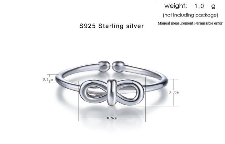 CNS Deals Women Ring Infinity Knot Tie Sterling Silver Adjustable Ring