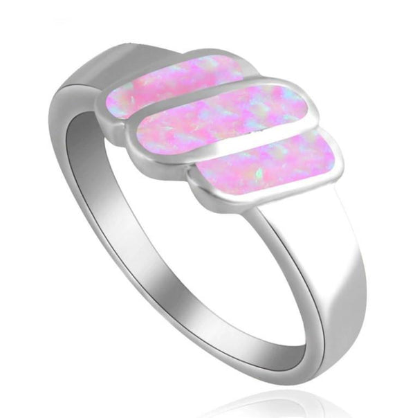Light Purple Fire Opal Trio Steps Silver Tone Fashion Ring R01