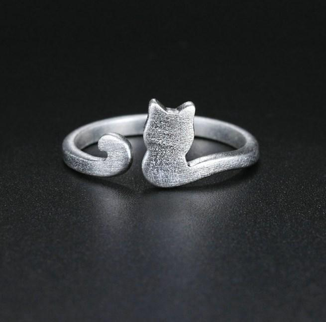 CNS Deals Women Ring Little Cat 925 Sterling Silver Adjustable Ring