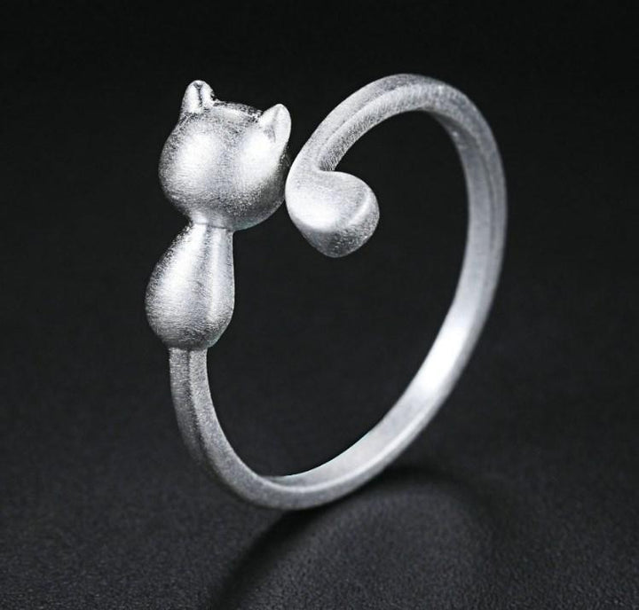 CNS Deals Women Ring Lovely 3D Matte Cat 925 Sterling Silver Adjustable Ring