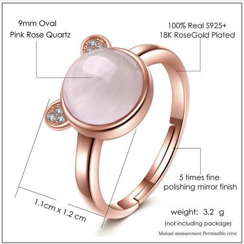CNS Deals Women Ring Lovely Bear Natural Rose Quartz 18K Rose Gold Wedding Ring