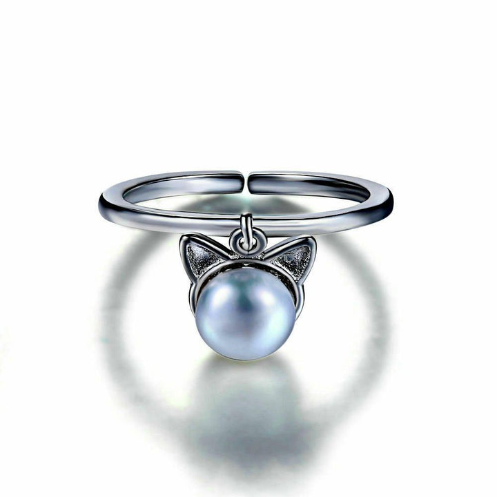 CNS Deals Women Ring Lovely Cat 925 Sterling Silver Adjustable Pearl Ring