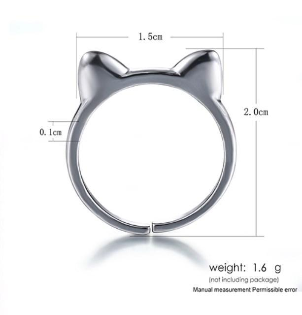 CNS Deals Women Ring Lovely Cat Ears 925 Sterling Silver Adjustable Ring