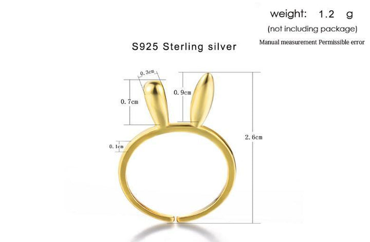 CNS Deals Women Ring Lovely Rabbit Ears 14K Yellow Gold Adjustable Ring