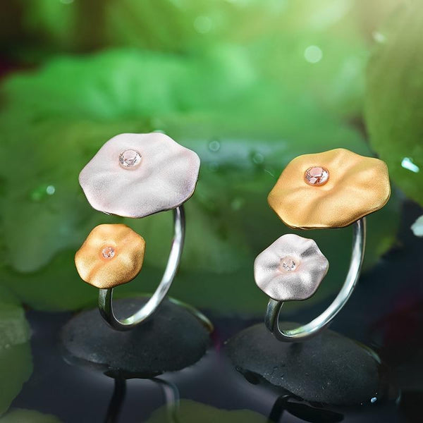 Morning Dew on Lotus Leaves 925 Sterling Silver Adjustable Ring L02