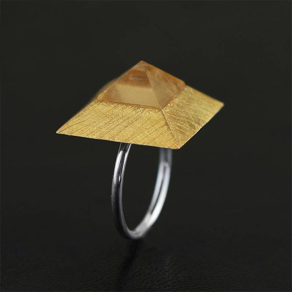 Mysterious Pyramid Pure 925 Sterling Silver Trendy Adjustable Ring L02