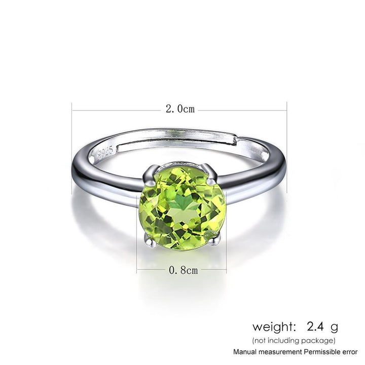 CNS Deals Women Ring Natural 0.8cm Peridot  Sterling Silver Adjustable Ring