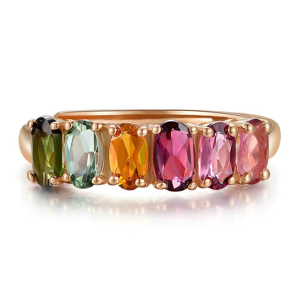 Natural 6pcs Oval Multi-color Tourmaline 18K Rose Gold Ring