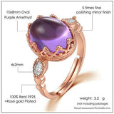 CNS Deals Women Ring Natural Amethyst Rose Gold Purple Ring