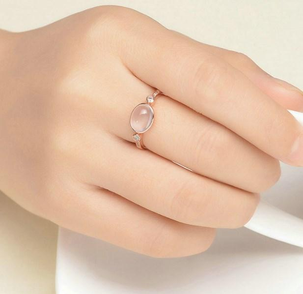 CNS Deals Women Ring Natural Oval Pink Rose Quartz Rose Gold Ring