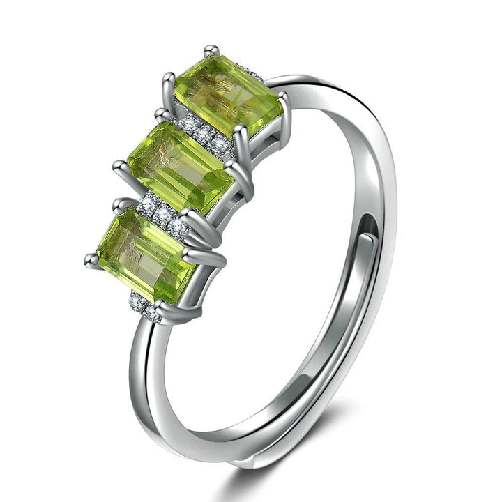 CNS Deals Women Ring Natural Rectangle Peridot Platinum Plated Wedding Ring