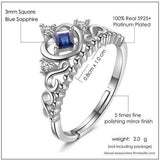 CNS Deals Women Ring Natural Sapphire 925 Sterling Silver Crown Wedding Ring