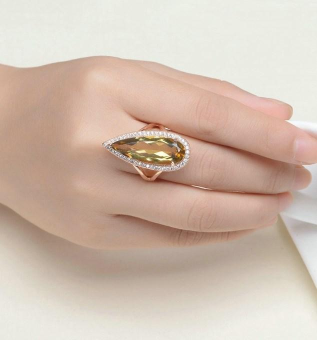 CNS Deals Women Ring Natural Teardrop Citrine Rose Gold Cocktail Ring