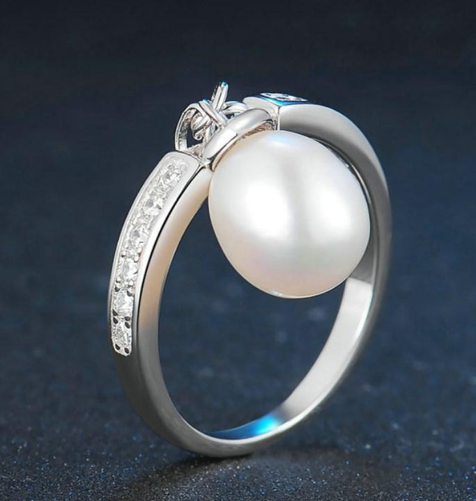 CNS Deals Women Ring Oval Freshwater Pearl 925 Sterling Silver Ring